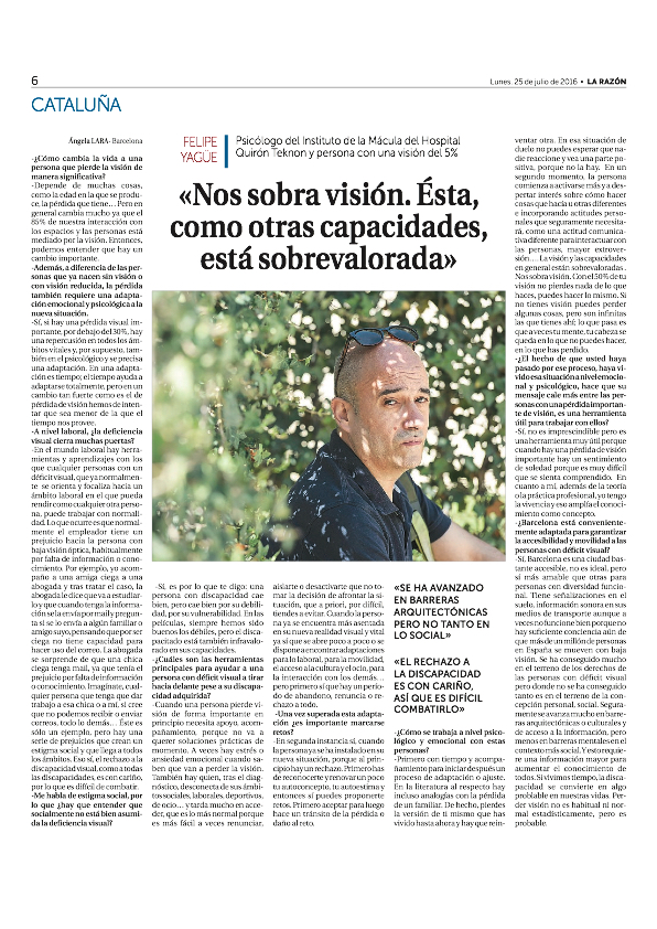 20160725 La Razón Felipe Yagüe